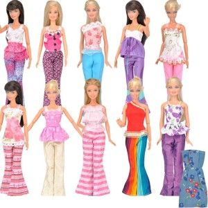 E-ting 5 Set Doll Clothes Outfit 5 Tops 5 Trousers Pants for Barbie Doll Random Style
