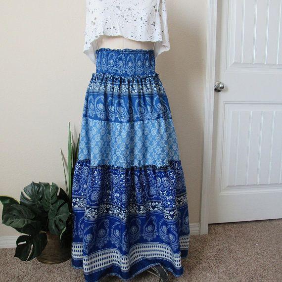 Vintage Eclectic Gypsy Skirt S/M, Indian Skirt, Loose Skirt, Mandala Skirt, Long Boho Chic Skirt, Festival Skirt, Maxi Skirt, High Waisted – Products
