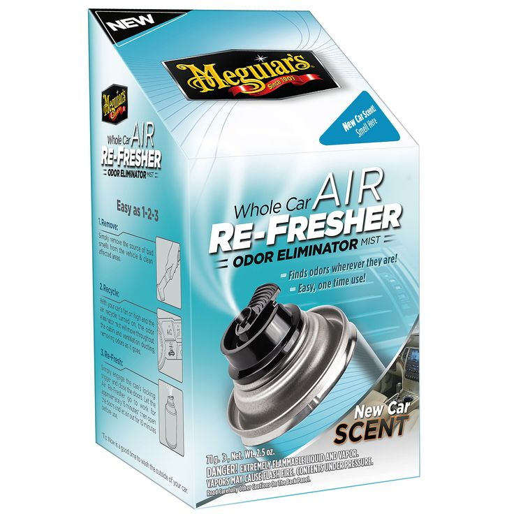 Meguiar's Luchtverfrisser New Car Scent  Description: Met de Meguiar?s Air Refresher New Car Scent verwijder je vieze geuren voorgoed. Deze luchtverfrisser bereikt ook het airco en ventilatiesysteem van je auto. Dit is vaak de plaats waar vieze geuren blijven hangen en terug de auto worden ingeblazen. Ook op de lastig te bereiken plaatsen gaat de geur weg omdat door de spray de gehele auto bereikt. Je plaatst simpel de Air Refresher in de auto en zet de ventilatie aan hierdoor gaat de…