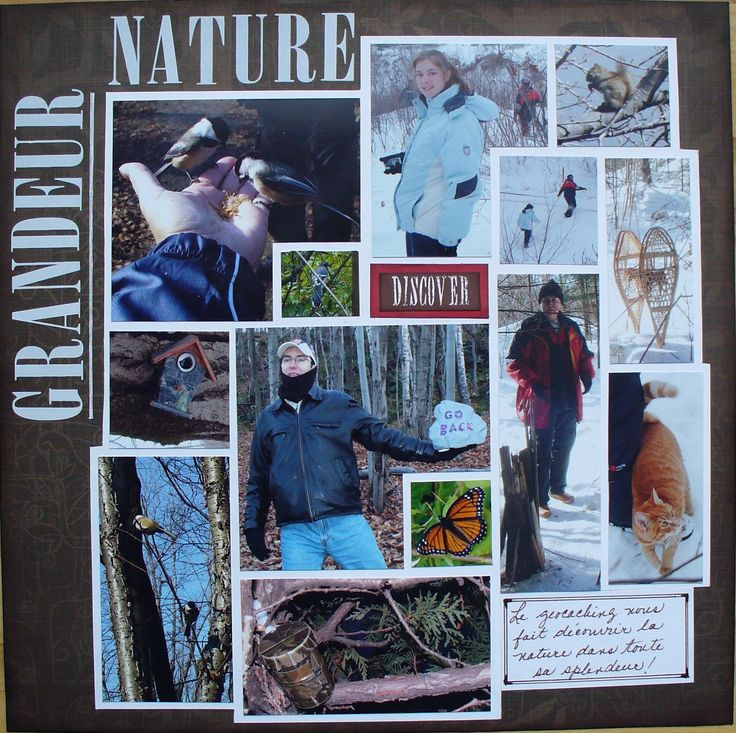 """Grandeur Nature"" (Life-size). Journaling says: Geocaching makes us discover the greatness of nature. For the October Challenge at Lasting Memories (http://kcclayoutchallenges.blogspot.ca/2014/09/lm-210-natures-glory.html)"