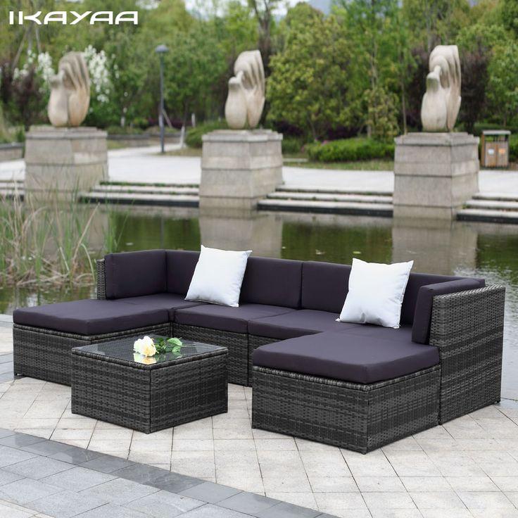 IKayaa ONS UK Voorraad Patio Tuin Meubels Sofa Set Poef Hoek Couch Rotan Rieten Meubels salon de jardin exterieur