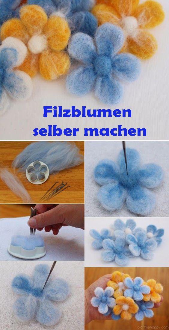 Blumen aus Wolle filzen: Kostenlose DIY Anleitung für Anfänger