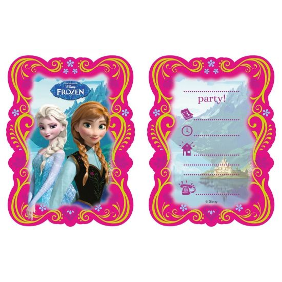Frozen uitnodigingen 6 stuks. Deze feestelijke uitnodigingen met plaatjes van Frozen worden geleverd met envelop en zijn verpakt per 6 stuks. De uitnodigingen zijn zeer geschikt voor Frozen kinderverjaardagen en themafeestjes.