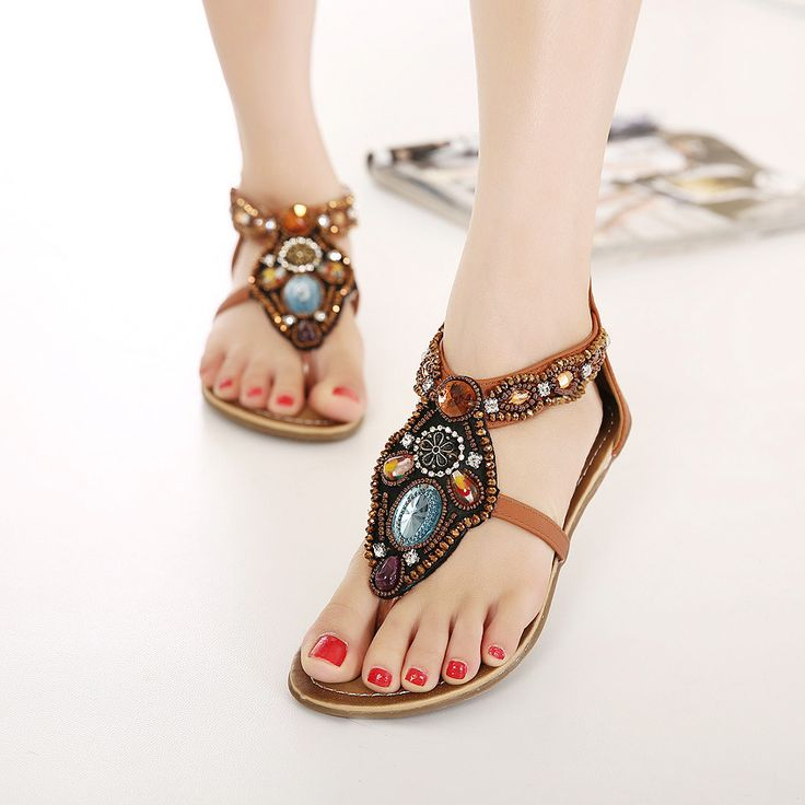 Women Shoes Summer Style 2016 Bohemia Flat Shoes Sandalias Mujer Ladies Shoes Beaded Sandals Plus Size 34-41