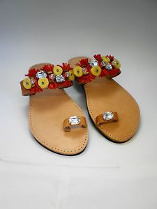 Hand made Genuine leather sandals UK size 6 with strass and red leather decor.
