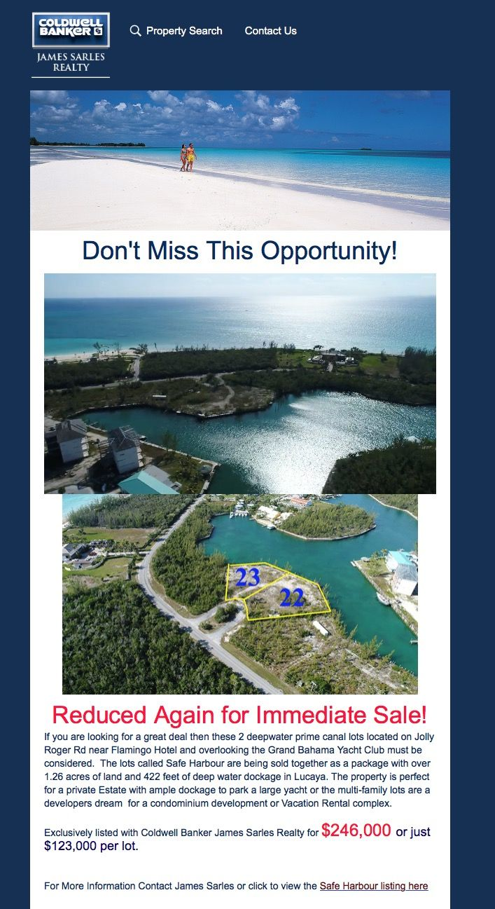 Don't Miss This Opportunity!  Safe Harbour, Grand Bahama - Reduced Again for Immediate Sale!  If you are looking for a great deal then these 2 deepwater prime canal lots located on Jolly Roger Rd near Flamingo Hotel and overlooking the Grand Bahama Yacht Club must be considered.   #safeharbour #yachtclub #lots #reduced #immediatesale  Via @james_sarles_realty_bahamas