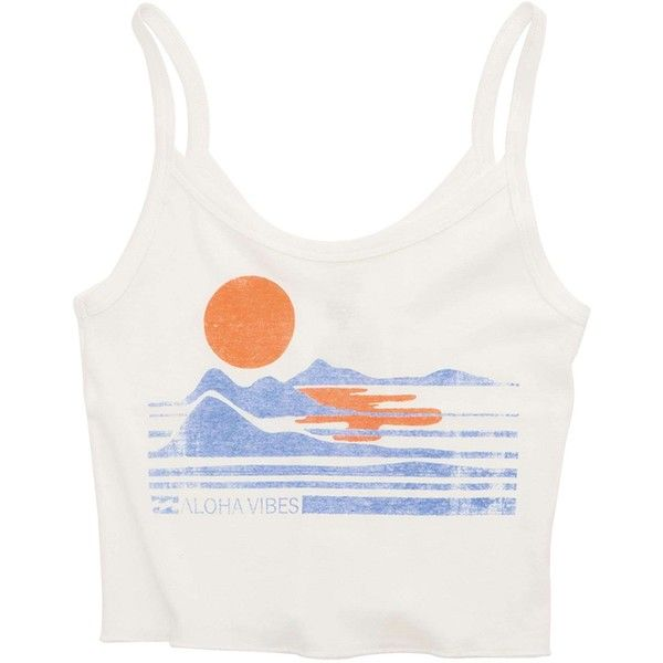 Billabong Women's Beach Trip Crop Tank (£14) ❤ liked on Polyvore featuring tops, shirts, crop tops, tank tops, cool wip, t-shirt/prints, cotton shirts, graphic shirts, white cotton tank top and print shirts