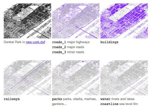 Free CAD Files of 241 Major World Cities, Image of the layers in the New York CAD file via bdon.org