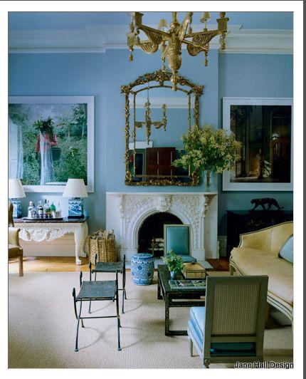 Sky blue classic style living room design icons miles for Sky blue living room ideas