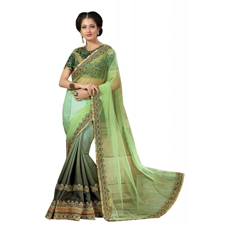 We unfurl our the intricacy and exclusivity of our creations highlighted in this enticing Aloe Vera Green Net Saree. The ethnic Resham & Crystals Stones work at the clothing adds a sign of attractiveness statement with your look.