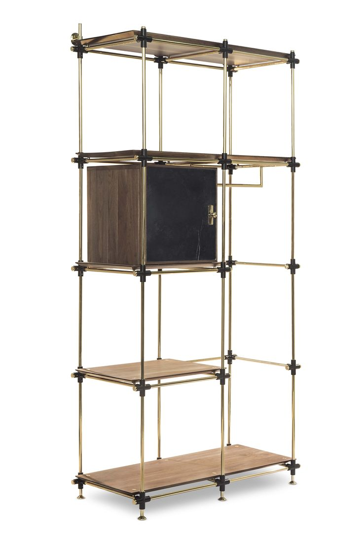 Blake is a modular bookcase system easily customizable to any measures needed. The specially made nero marquina marble doors have a lightweight core that conveys solidity. This glaring modular brass and walnut wood structure creates a stunning combination of materials and know how.