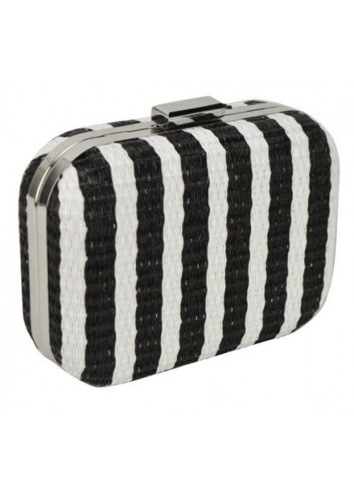 Aces Weave Striped Clutch Black