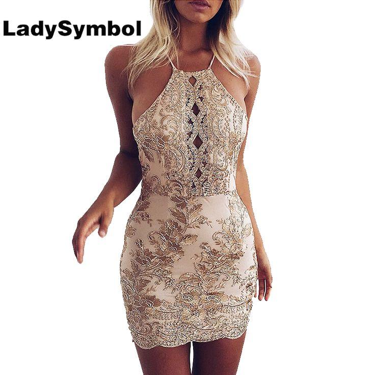 LadySymbol Elegant Gold Sexy Club Bodycon Dress Women Off Shoulder Summer Lace Casual Backless Halter Gauze Metallic Beach Dress