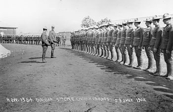 The 5th Battalion, Canadian Mounted Rifles on church parade, Durban, South Africa, 29 June 1902. This was after the signing of the Treaty of Vereeniging that ended the war, and the unit never saw action.