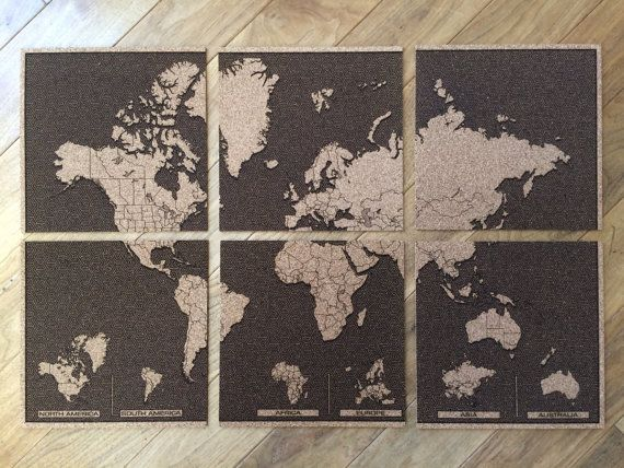 Cork World Map Travel Engraved Wall Art by SweenksCustomLaser