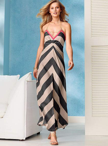 Chain-link Halter Maxi Dress