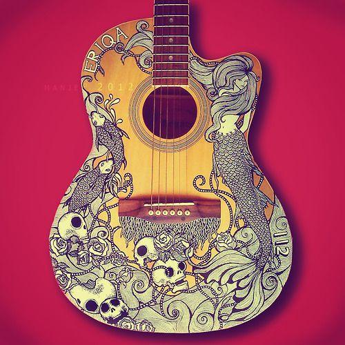 Guitar art by Manje: Guitar Art, Luna Guitar, Skullspir With, Design Art, Skull Design, Guitarart, Acoustic Guitar, Mermaids Guitar, Art Projects