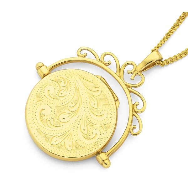 9ct Gold Engraved Spinner Locket
