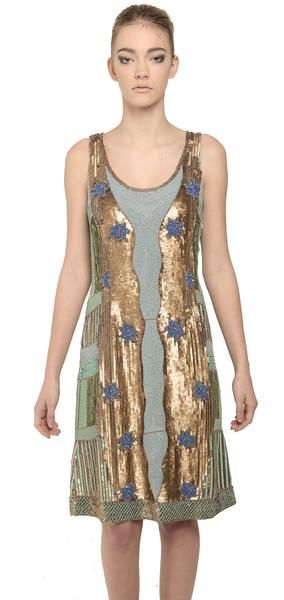 Heavy beaded multicolor sequin dress. The Klimt dress is a heavy beaded multicolored sequin dress. This sleeveless dress features  a low rouded neckline and is designed as a slim fit. #evening #cocktail #embellished #beading #sequins #gold #NARCES