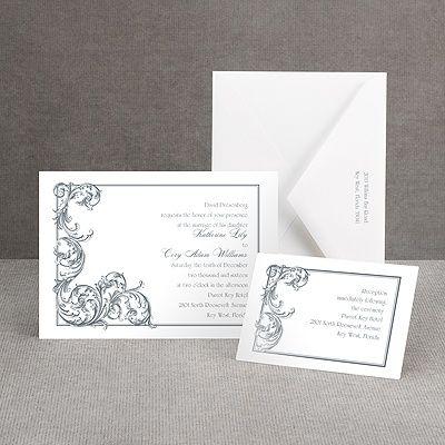 fine filigree vintage wedding invitation