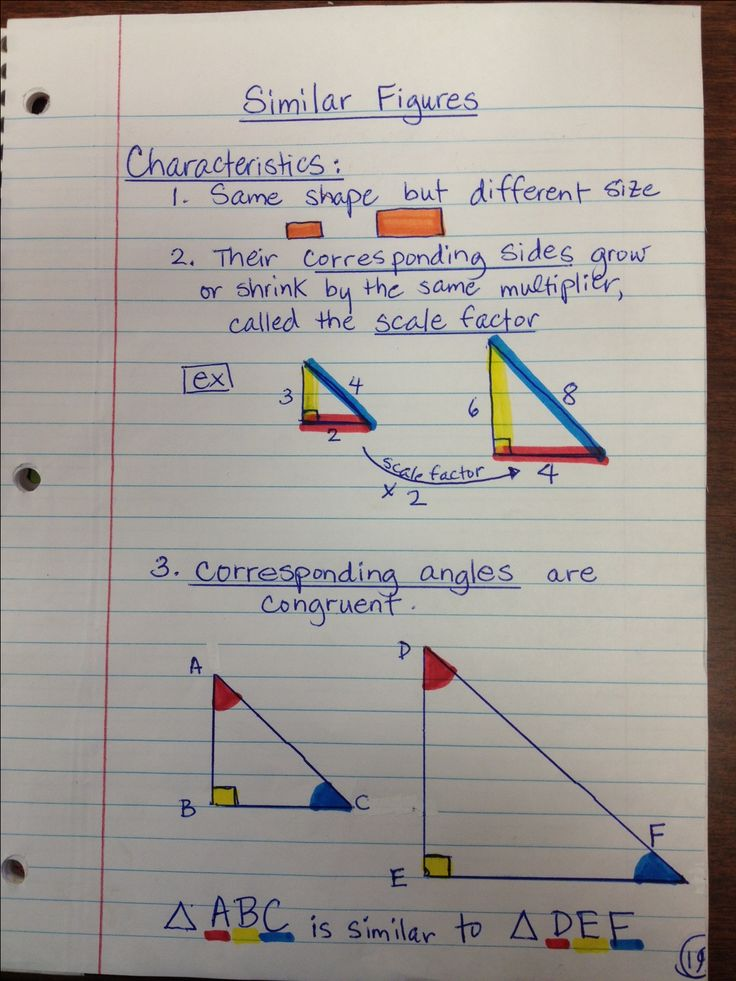 Worksheets Similar Shapes Worksheet Grade 4 1000 ideas about triangle math on pinterest pi formula summary notes similarity for interactive notebook pic only love the color coding similar triangles