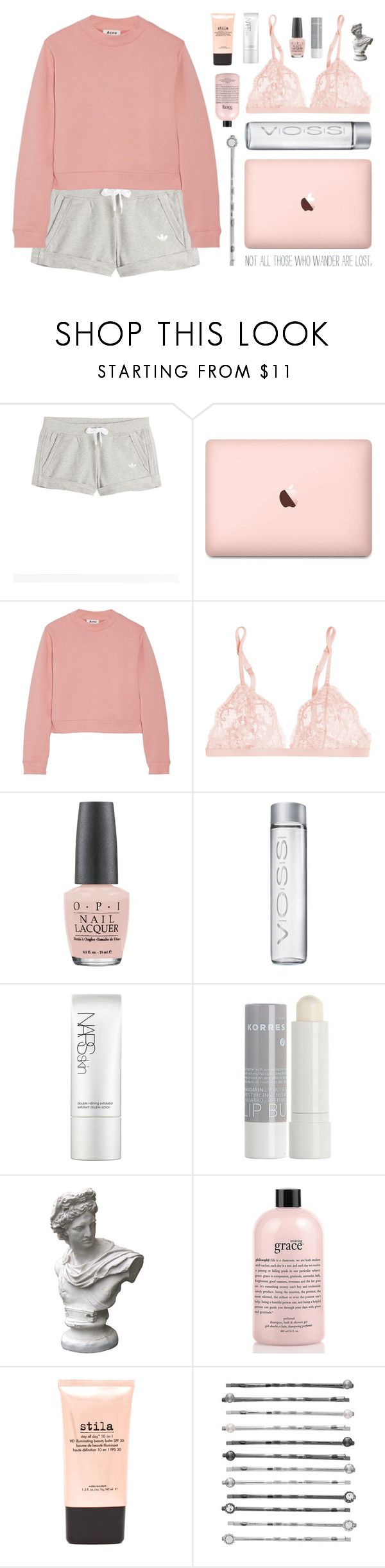 """""""//Sunday morning rain is falling//"""" by the-key-to-my-heart ❤ liked on Polyvore featuring adidas Originals, Acne Studios, La Perla, OPI, NARS Cosmetics, Korres, Market, philosophy, Stila and LC Lauren Conrad"""