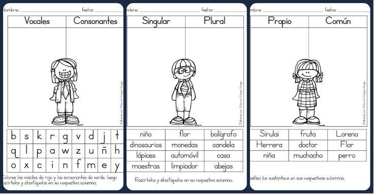 Fichas de repaso, vocales y consonantes, masculino y femenino, singular plural, etc....