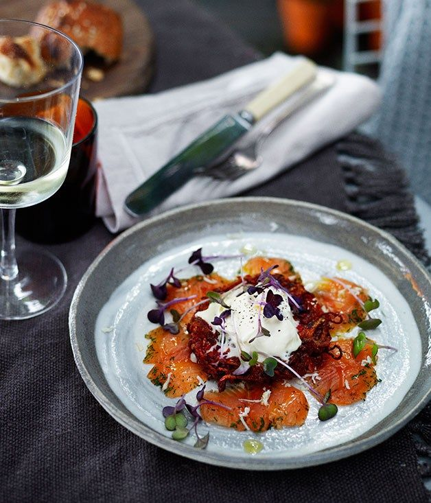Dill-cured rainbow trout with beetroot and potato cakes and fresh horseradish | Sean Moran recipe - Gourmet Traveller