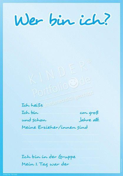 Kindergarten Portfolio Vorlage - TVA003 - Wer bin ich? (blau) - Vorderseite