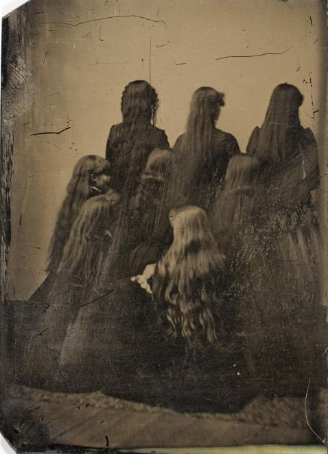 Backs of Eight Unidentified Women with Long Hair, ca. 1880, Tintype, International Center of Photography  ( and yes, I wonder why too)