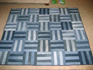 Congrats to Melissa who stuck with it and finished her very FIRST quilt!  She cut denim strips and then pieced five of the strips together, ...