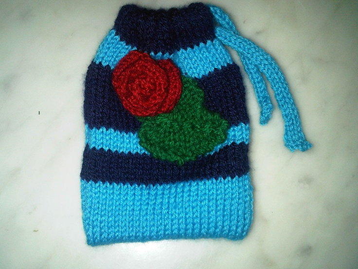 A rose blue stripey drawstring bag by Bags of Curiosity on etsy £4.99