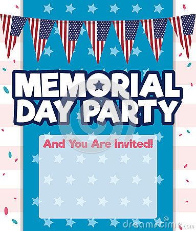 Party invitation template with patriotic buntings design, confetti and stars background for Memorial Day celebration.