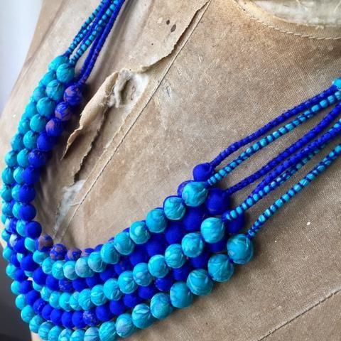 Silk Beads - 6 Strand - Indigo and Aqua