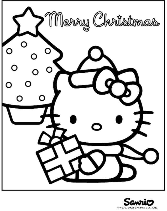 Christmas Coloring Pages Hello Kitty Portraits