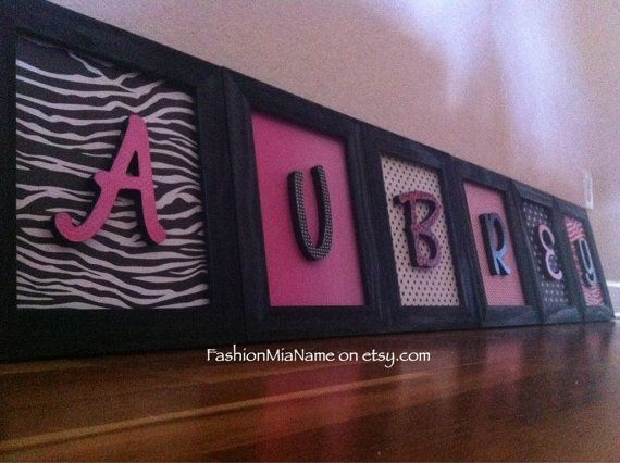 Framed hanging nursery letters by FashionMiaName on etsy.com | Hot pink, black and white zebra and polka dot theme