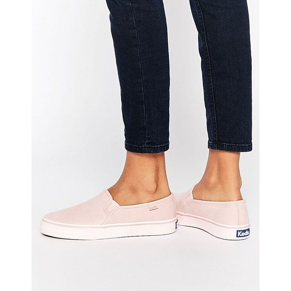Keds Double Decker Washed Leather Pale Pink Slip On Plimsoll Sneakers ($92) ❤ liked on Polyvore featuring shoes, sneakers, palepink, slip-on sneakers, stitch shoes, leather slip on sneakers, leather sneakers and pull on sneakers