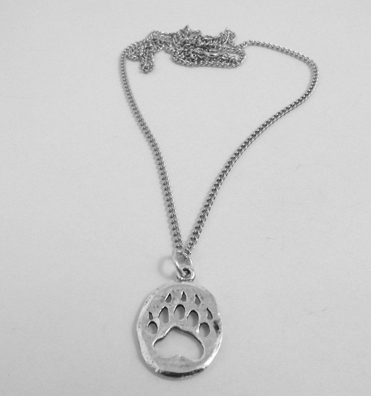 Pewter Bear Paw Pendant On Silver Plated Link Chain Necklace - 5161