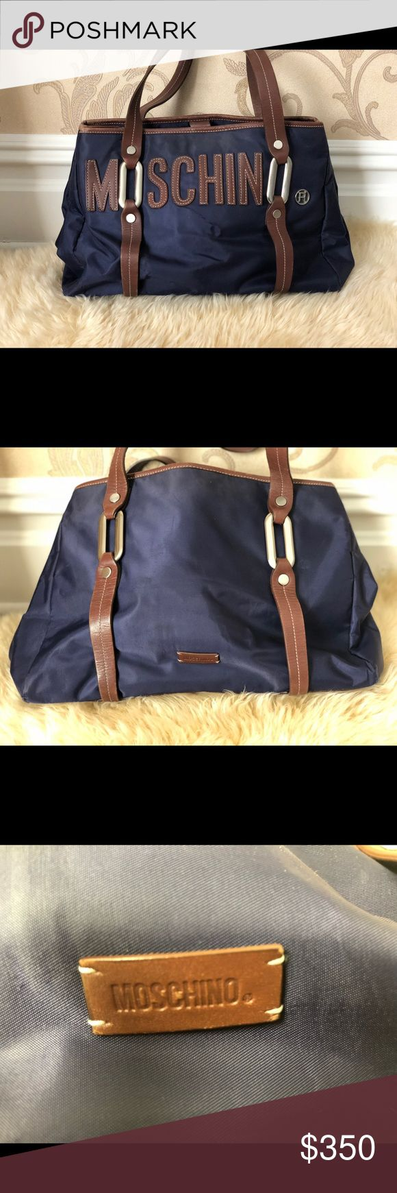 Moschino nylon shoulder bag Moschino brown and navy shoulder bag perfect for everyday Moschino Bags Shoulder Bags