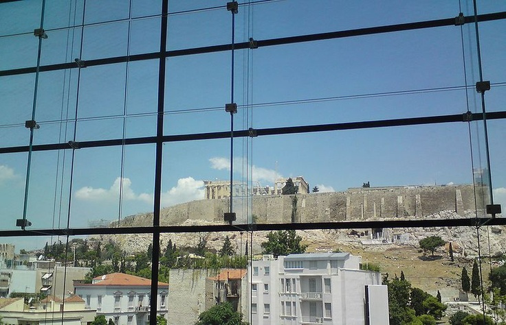 view from inside the Acropolis museum, Athens, Greece