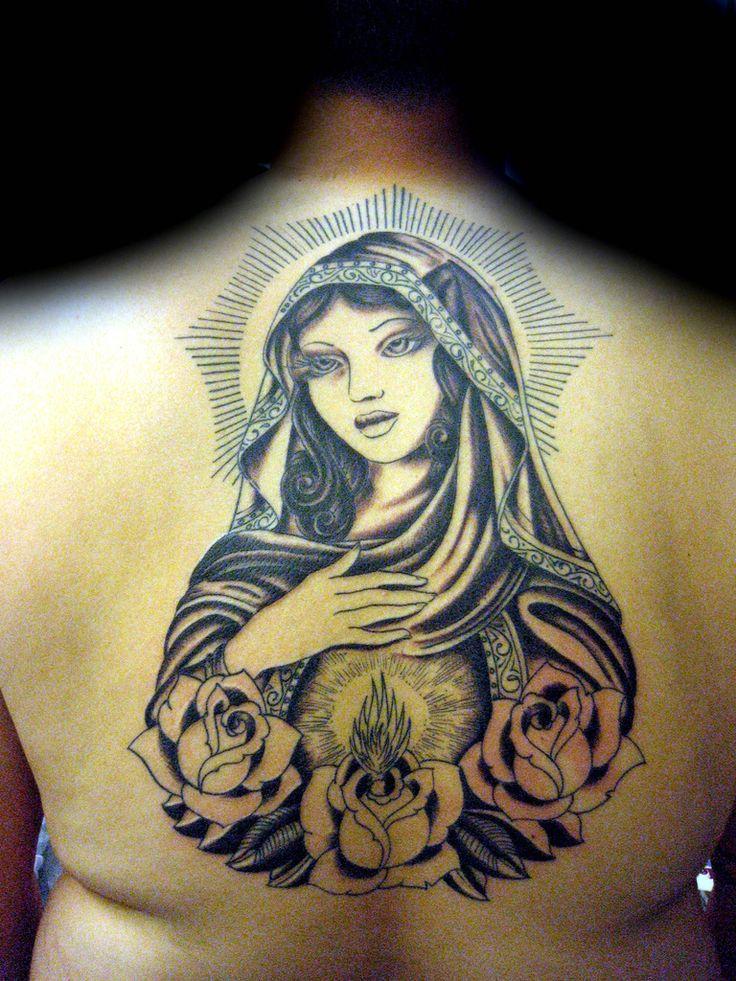 Tatuaje virgen mary on Mike! Pupa Tattoo Granada