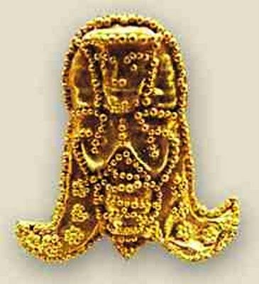 Bee Goddess, 7th century BCE, Crete. Greek archaeologists found an ancient skeleton covered with gold foil in a grave. The team discovered more than 3,000 pieces of gold foil in the twin grave near the ancient town of Eleutherna. The tiny gold ornaments, from 1 to 4 centimeters (0.4 to 1.5 inches) long, had been sewn onto a lavish robe or shroud that initially wrapped the body of a woman and has almost completely rotted away but for a few off-white threads.