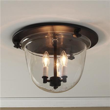 Flush Ceiling Bell Lantern -Dark Bronze  3x40 watts. (candle base socket) (9.5Hx13.75W)   Product SKU: FM10031 BZ Price: $299.00