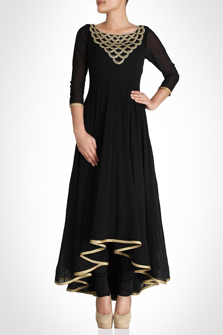 Black High-Low Anarkali with Scalloped Neckline by Khushboo Chhadwa   SHOP NOW: www.kimaya.in