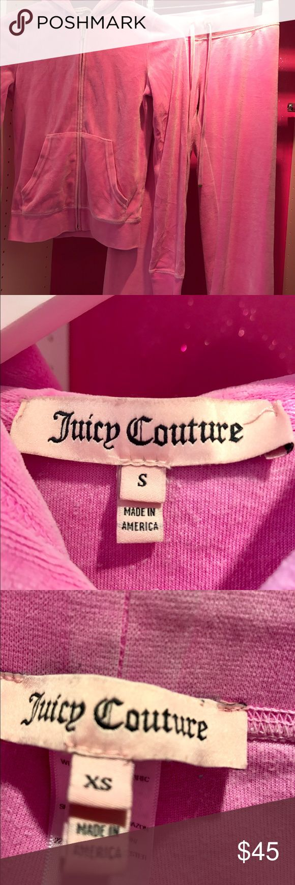 Juicy Couture distressed pink vintage tracksuit Juicy Couture distressed pink vintage tracksuit extremely soft in superb condition except that one of the gold accents on the pant ties has come off. Otherwise almost new. The top is a S and the pants are a XS . The shade of pink is gorgeous! Juicy Couture Other