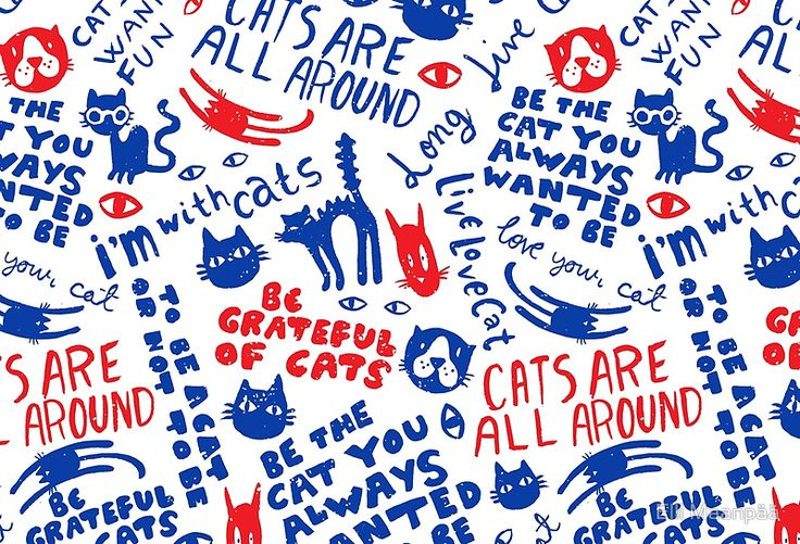 Cats Are All Around - Red And Blue
