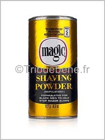 La poudre de rasage Shaving Powder Gold de Magic a été délicatement parfumée vous assure un rasage en toute sécurité et surtout sans irritation ou gêne après son utilisation. Elle est spécialement formulée pour les hommes noirs. Elle permet d'enlever les poils de la barbe sans rasoir éliminant ainsi les problèmes de boutons auxquels de nombreux hommes noirs sont confrontés. Ce produit est très fortement conseillé pour en finir avec les coupures du rasoir.  #En vente sur www.tribuebene.fr
