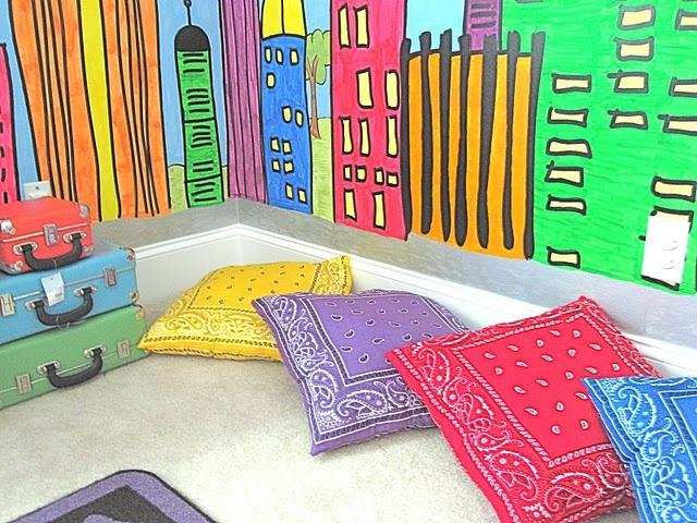 bandana pillows - fun for a reading corner: Craft, Idea, Classroom Decor, Reading Corner, Playroom, Handkerchief Pillows, Bandana Pillows, Kid