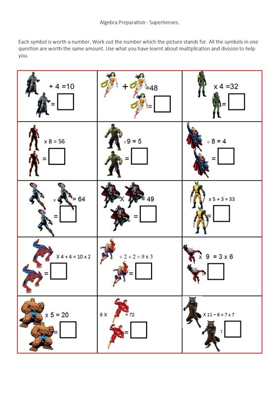 Superhero Missing Number Problems Teaching Resources