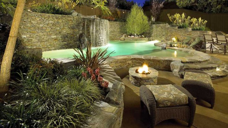 Swimming Pool With Five Foot Raised Bond Beam And Stacked Stone Swimming Pools To Dive For